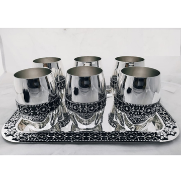 92.5% Pure Silver Stylish Glasses  and tray set PO-170-03