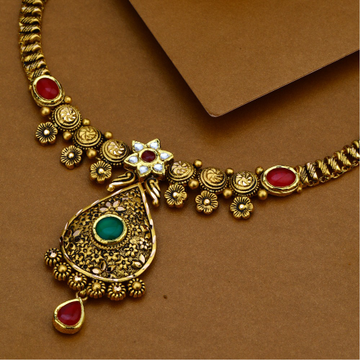 22KT Gold Antique Kundan Necklace Set