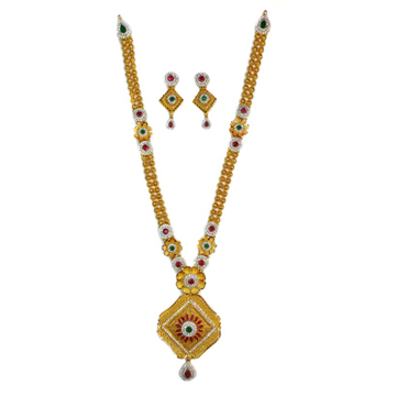 916 gold antique necklace set mga - gn027