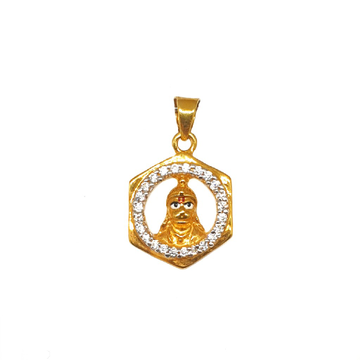 22K Gold Hexagon Shaped Pendant MGA - PDG0217