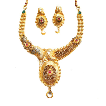 22k Gold Antique Oxidised Designer Necklace Set MGA - GN085
