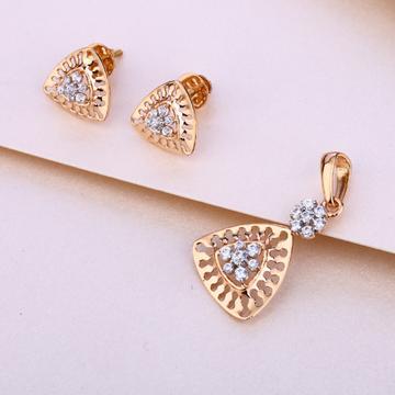 18KT Rose Gold Cubic Zirconia Pendant Set RPS24