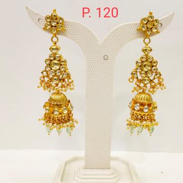 Gold plated Wedding Kundan Long Jhumka Earring with Hanging moti 1691