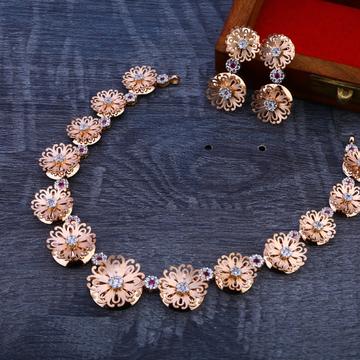 18CT Rose Gold Cz Stylish  Necklace Set RN92
