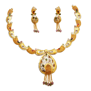 22k Gold Modern Style Designer Necklace Set MGA - GN055