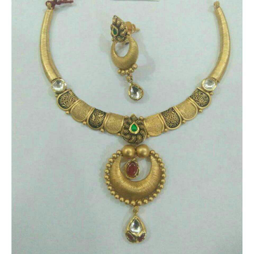 916/22KT Yellow Gold Antique Jadtar Ladies Bridal Necklace Set