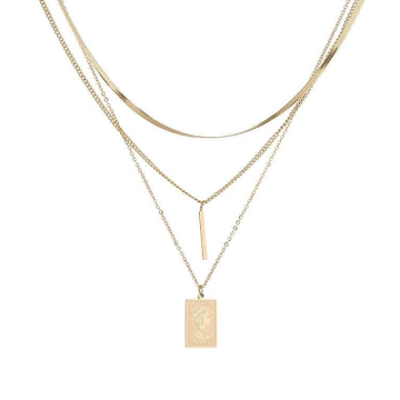 18kt rose gold triple chains with different pendants for women jkc015