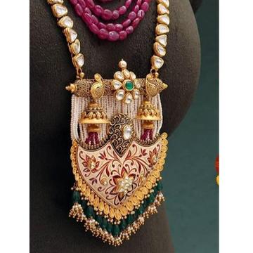 221k Gold Rajwadi Long Necklace Set From Rajkot