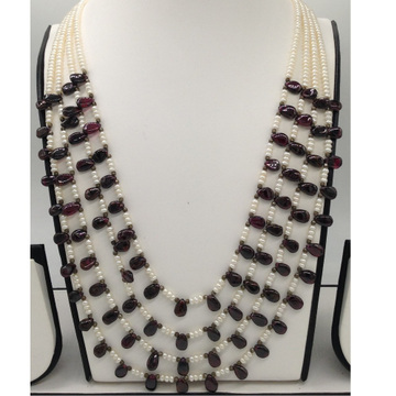 White Pearls And Brown Gomed Drops 4 Layers Neckla...