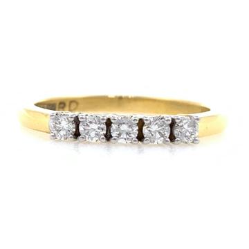 18kt / 750 yellow gold classic line diamond ring f...