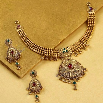 22KT/ 916 Gold Antique Jadtar Wedding Half necklac... by