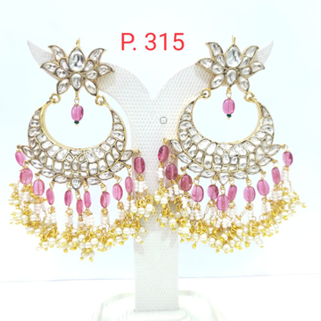Bridal FLower & Moon Style Kundan Earring with Pink Beads 1617