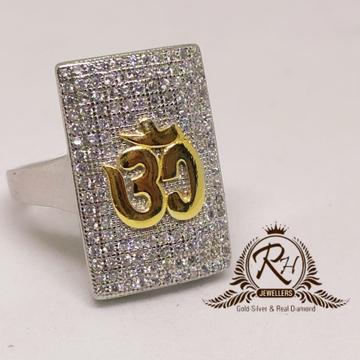 92.5 silver om daimond gents traditional ring rh-gr959