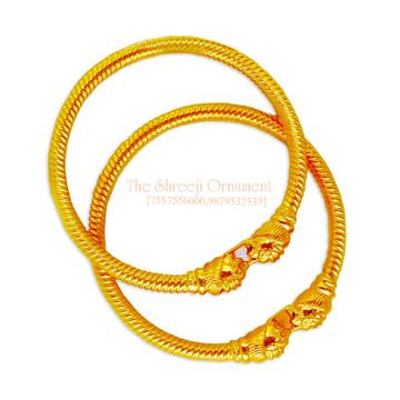 916 Gold Plain Variya Copper Kadali Bangle - 003