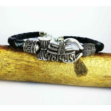 Fancy 925 Silver Mahakal Black Leather Gents Bracelet