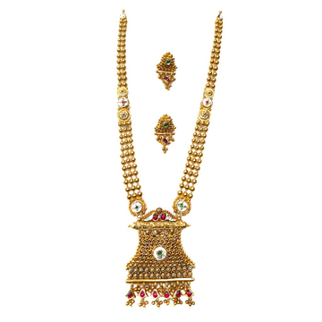 22k Gold Antique Oxidised Designer Necklace Set MGA - GLS057