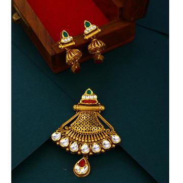 916 hallmark light weight Antique  gold pendant set
