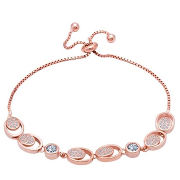 18kt rose gold circle in circle design bracelet for women jkb044