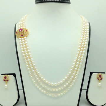White,RedCZBroochSet With 3Lines OvalPearls M...