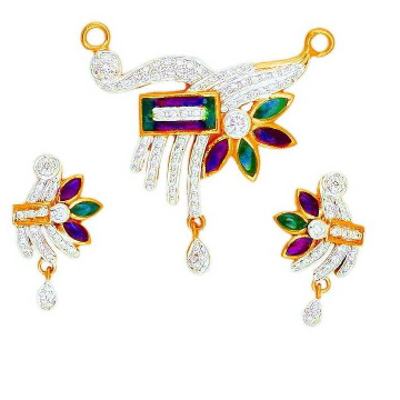 22K Gold CZ Colorful Ladies Mangalsutra Pendant