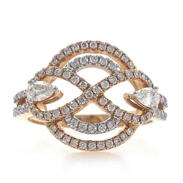 18kt / 750 rose gold micro set diamond ring for la...