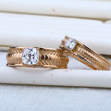 76 Melting Engagement Solitaire Rose Gold Couple RING-RCR11