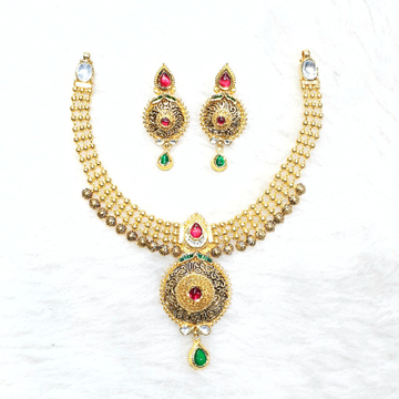 916 gold antique necklace set mga - gn019