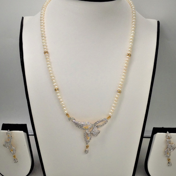 White cz pendent set with potato pearls mala jps0094