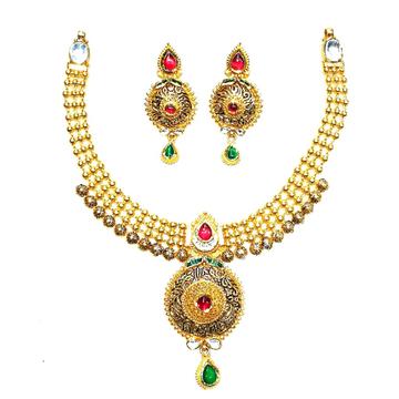 916 gold antique necklace set mga - gn019