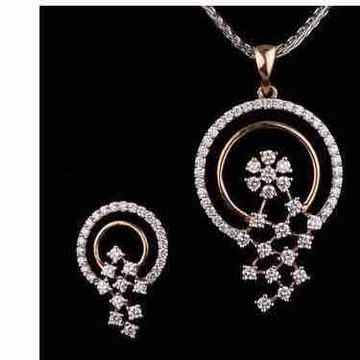 18KT Antique Rose Gold Real Diamond Pendant Set by