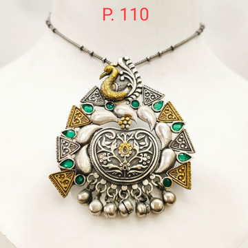 Oxidised silver with gold Plated peacock & tringle design pendant necklace 1666