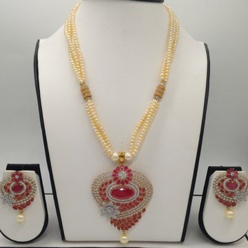 White And RedCZ And Pearls PendentSet With 3Line Cream GoldenPearls Mala JPS0315