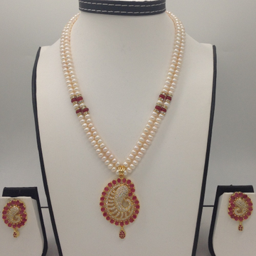 White And RedCZ PendentSet With 2Line FlatPearls Mala JPS0317