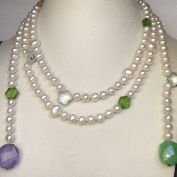 Freshwater White Potato Pearls Knotted Long Open Ended Mala with faceted Semi Precious Beeds