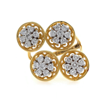 Quad Flower diamond Cocktail Ring in 18k Yellow Gold - 6.500 grams - VVS EF 0.87 carats - 0LR59