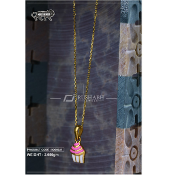 18 carat gold Kids chain pendent cone icg0027 by