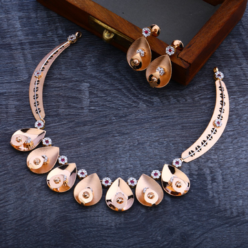 18CT Rose Gold Hallmark Fancy Necklace Set RN98