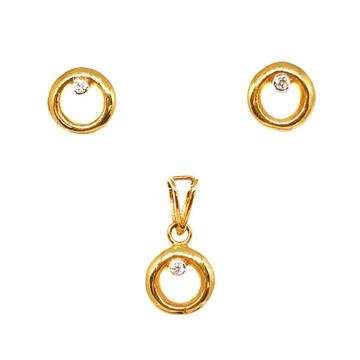 22K Gold Round Shaped Designer Pendant Set MGA - PTG0073