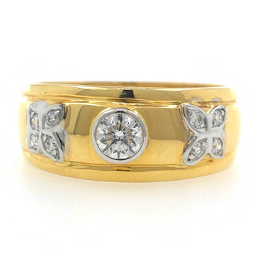 18kt gold fancy engagement solitaire band diamond gents ring 6gr7