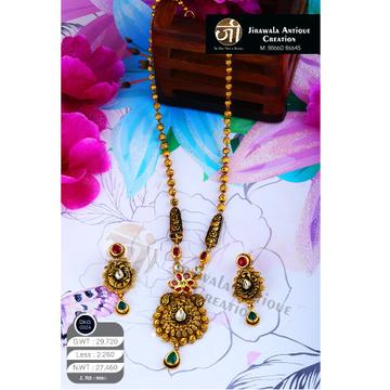 916 Gold Antique jadtar Long Necklace Set DKG-0024