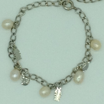 Cream Drop Pearls With Charms White Alloy Chain Bracelet JBG0208