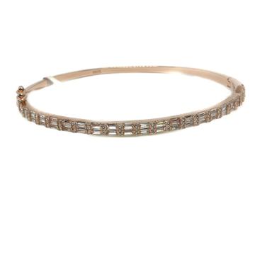 925 Sterling Silver CZ Diamond Rose Plating Lining Bracelet MGA - KRS0046