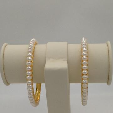 White Flat Pearls Bangles JBG0050
