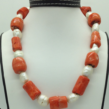 White Oval BaroquePearls with Coral DrumsNecklac...