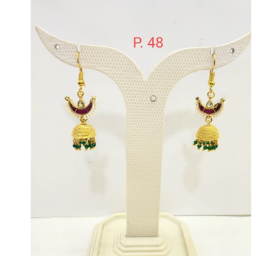 gold plated Ruby stone Earring Jhumka with Green Pearl 1683
