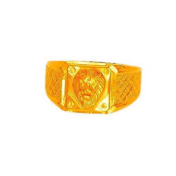 22K/916 Designer Plain Gold Lion Shaped Gents Ring