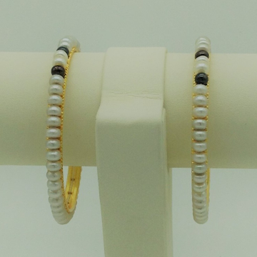 Black and grey flat pearls bangles jbg0091