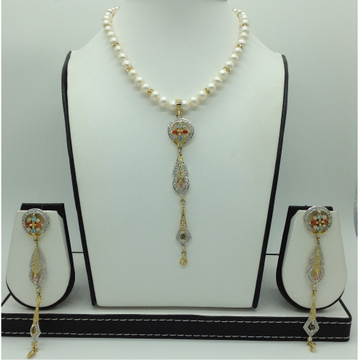 Multiclour CZ LongPendentSet With RoundPearls M...