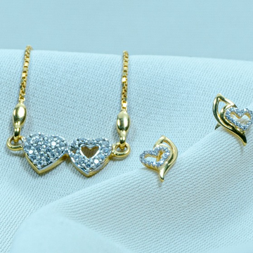 916 Gold Double Heart Necklace Set DK1-247 by