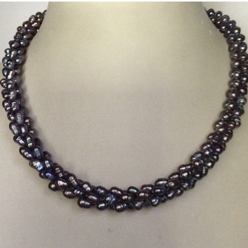 Freshwater grey rice pearls rassi necklace
